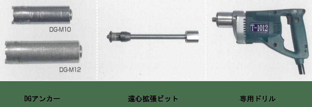 DGアンカー(正式名称:両刃拡底アンカー)専用機材