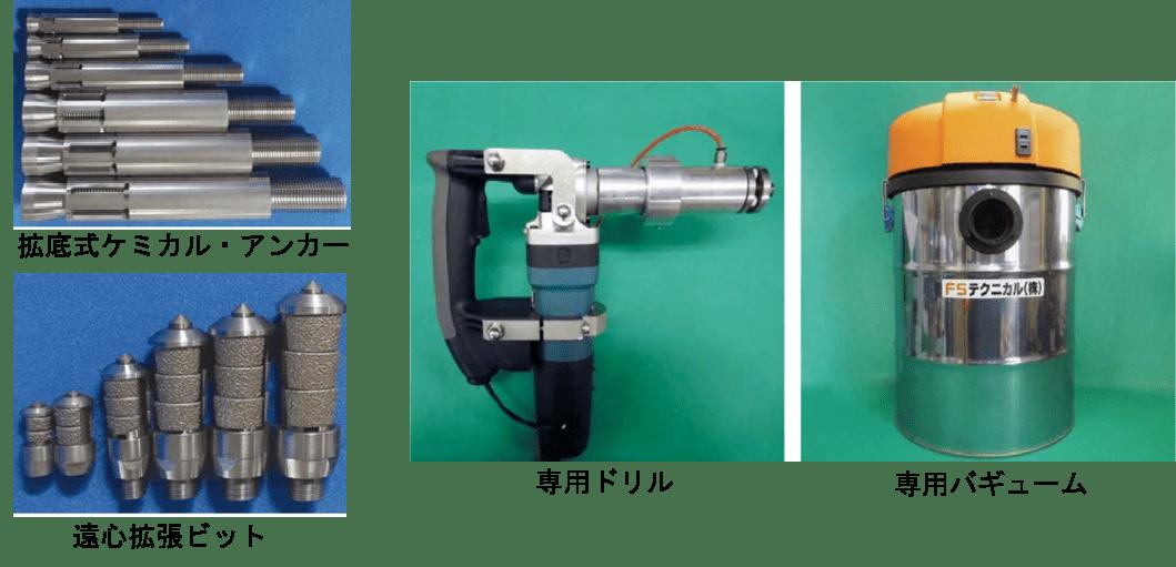 フジタ式拡底アンカーの拡底式ケミカル・アンカー専用機材