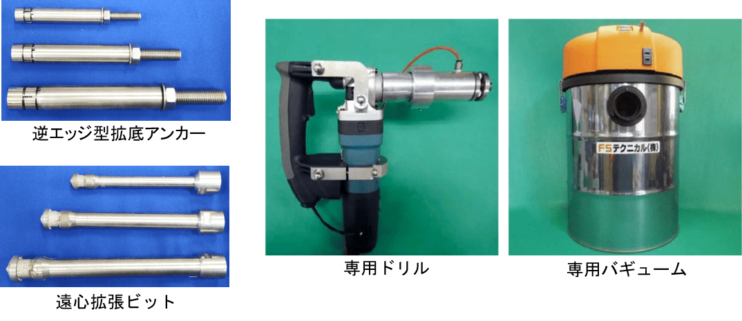 フジタ式拡底アンカーの逆エッジ型拡底アンカー専用機材、遠心拡張ビット、専用ドリル、専用バギューム