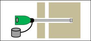 湿式低騒音ドリルを使用して、穿孔作業を行う。