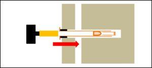 .ゴムシールをハンマーの柄の部分で軽く叩きシール部を密着させる。